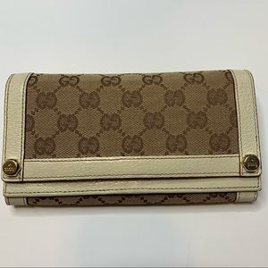 Gucci Wallet Brown logo with Cream Leather
